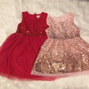 Cat & Jack holiday sequin dresses lot of 2